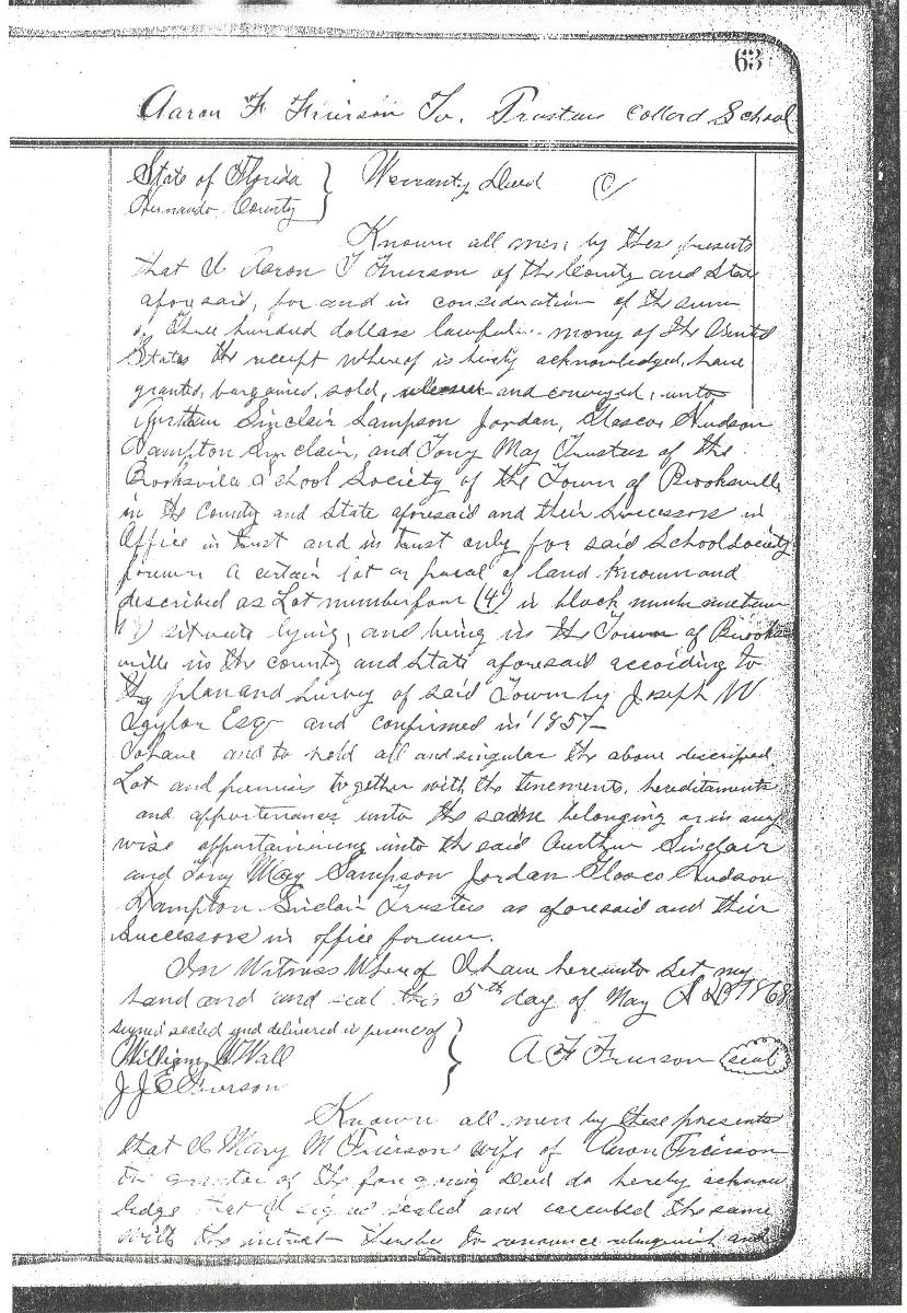 1868 deed for the Brooksville Colored School