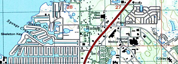 Hudson Florida Map.History Of Hudson Florida