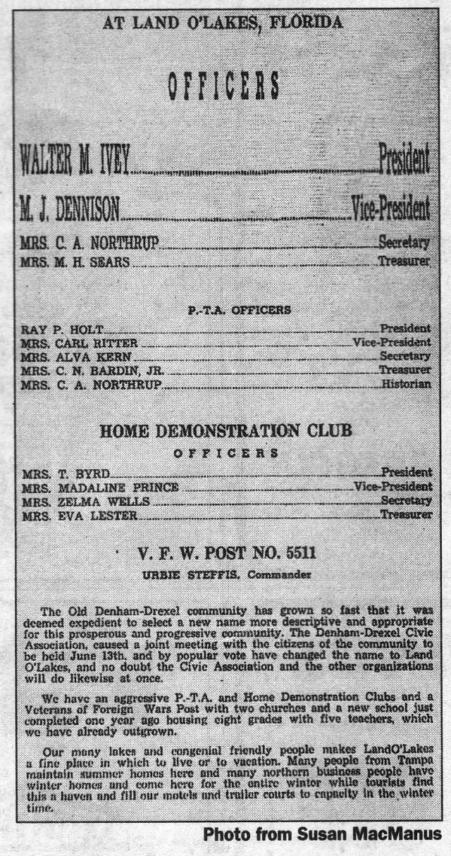 The Fourth Of July Celebration Program From 1949 Reports Area S Change To Name Land O Lakes